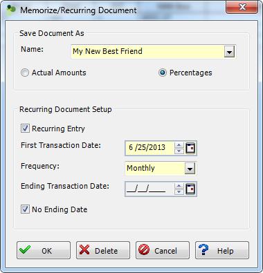 Memorize Recurring Document