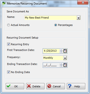 Memorize Recurring Document